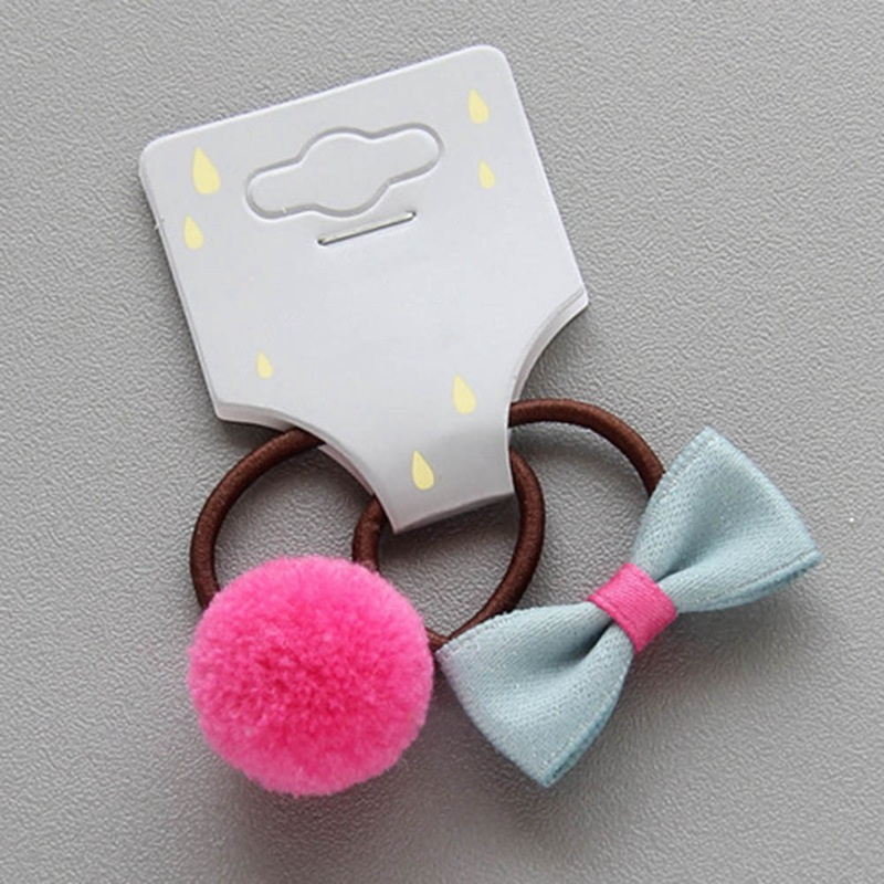 Ponytail Holder Hair Ties Bands Kid Accessories Small Mini Pom Balls Bow Elastic