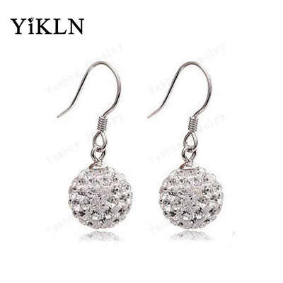 YiKLN Classic Drop Earrings Silver-Color 10MM Rhinestone Disco Ball Austrian Crystals Dangle Earrings Jewelry For Women SHER21