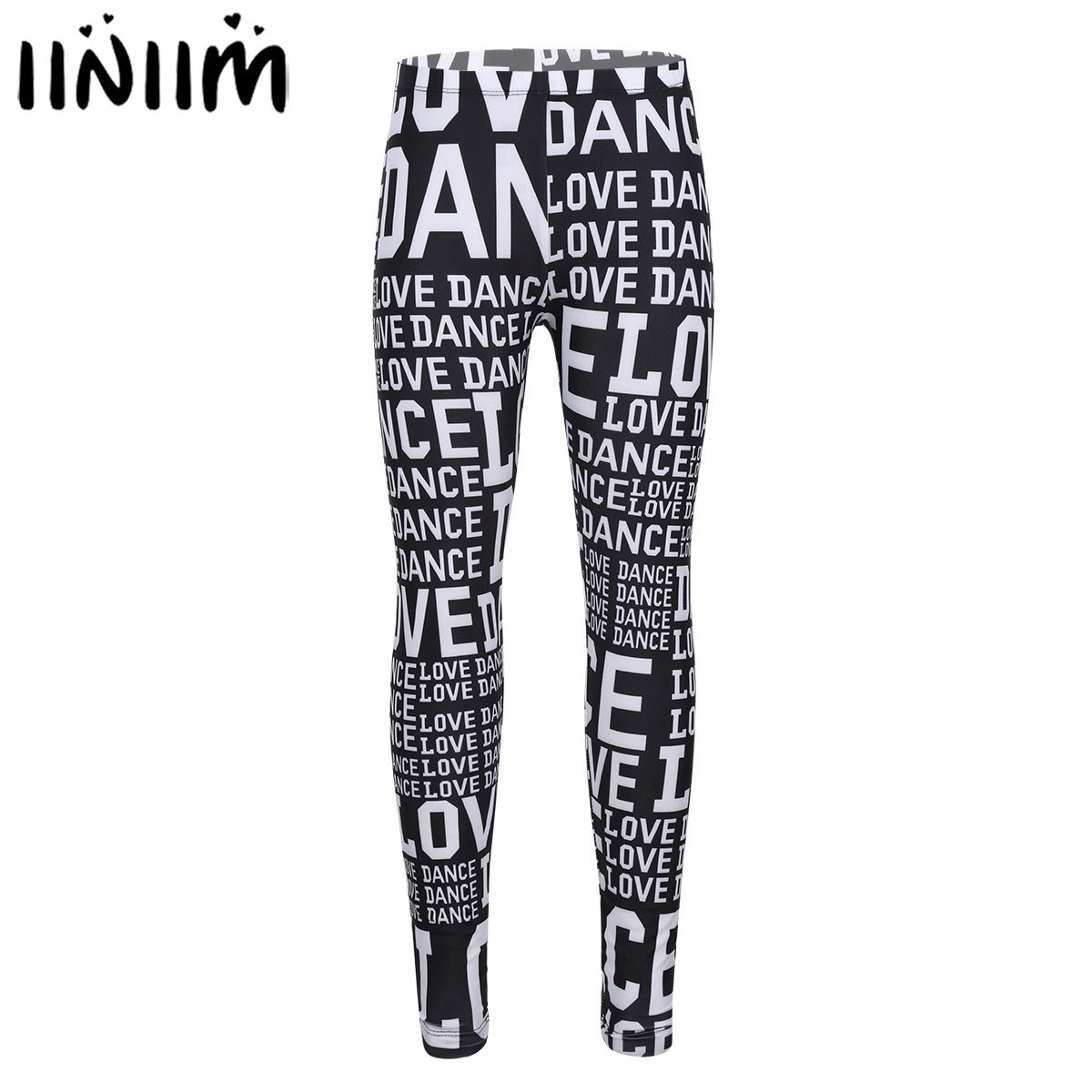 iiniim Kids Girls Dance Wear Letters LOVE DANCE Printed Pants danse classique Leggings Tights Party Leotard Dance Performance