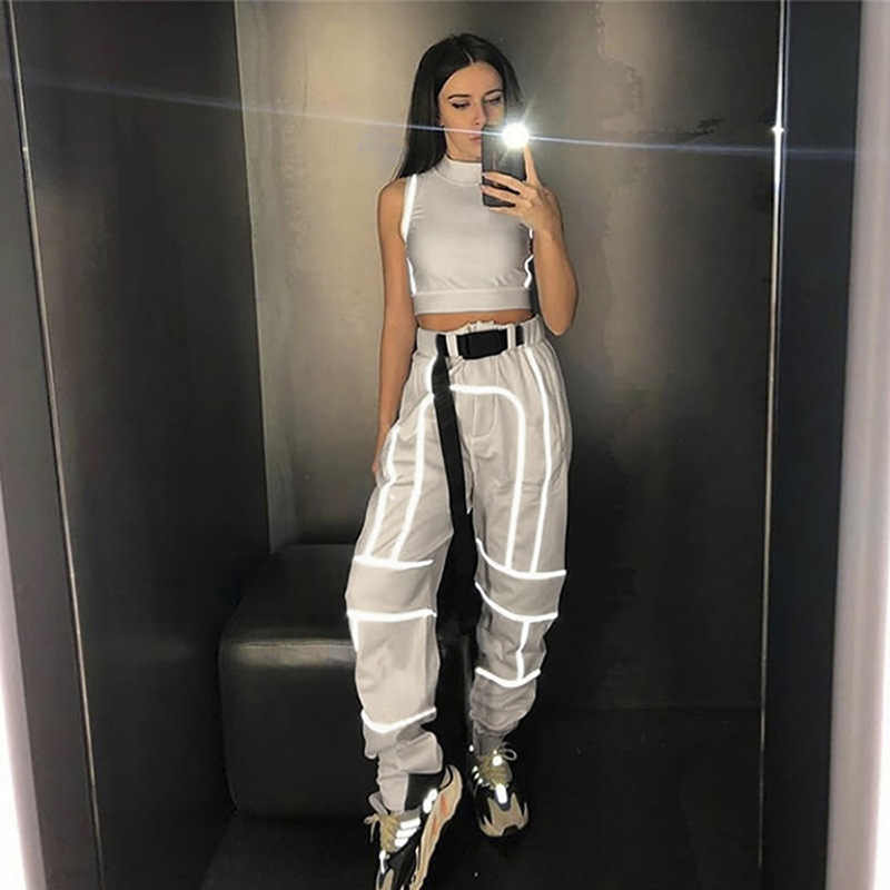 2 piece set women 2019 new arrival women fashion street Reflective patchwork Tops + pants summer clothes for women two piece set
