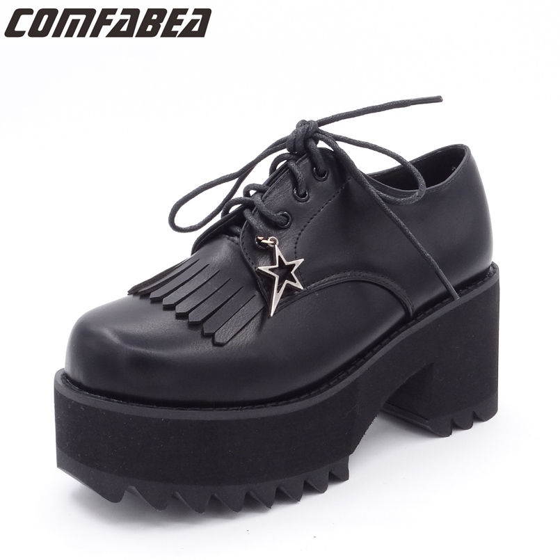 Spring Autumn Shoes Woman Pumps Platform Shoe Womens Casual Tassel Shoes 2018 New Punk Black Footwear High Heel Shoe new arrival spring and autumn pink pearl wedding shoe up heel platform shoes woman party shoes luxury handmade shoes
