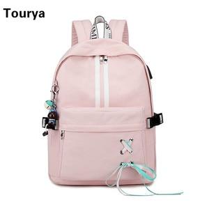 Image 2 - Tourya Fashion Anti Theft Reflective Waterproof Women Backpack USB Charge School Bags For Girls Travel Laptop Rucksack Bookbags