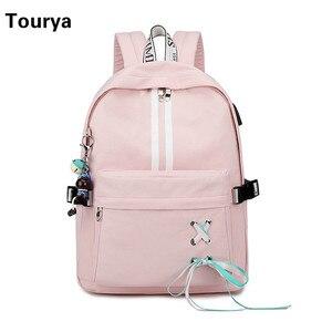 Image 2 - Tourya ファッション抗盗難反射防水女性バックパック usb 充電のランドセル旅行ラップトップリュックサック bookbags
