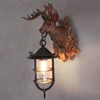 Американский голова оленя настенный светильник назад к фон антикварные украшение Nordic роскошная вилла гостиная настенные светильники 6 Вт 8