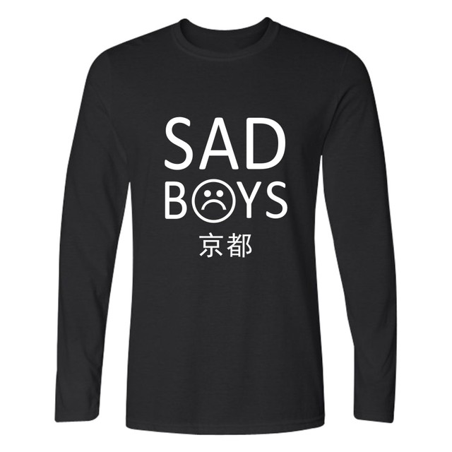 Yung magra triste meninos T-shirt Longo Dos Homens Hip Hop TShirts e yung magra triste meninos Camiseta de Manga Longa Homens Slim Fit em T camisas