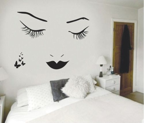 Removable Mural Diy Art Stiker Dinding R Tidur Romantis Vinyl Hitam Bulu Mata Gadis Adesivo De Parede Decal Sofa La002 Di Wall Stickers