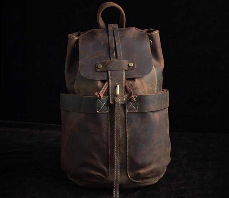 Здесь продается  Casual Genuine Leather Solid Backpack For Men Vintage Travel Schoolbag Unisex Fashion Brand Design Crazy Horse Leather Rucksack  Камера и Сумки