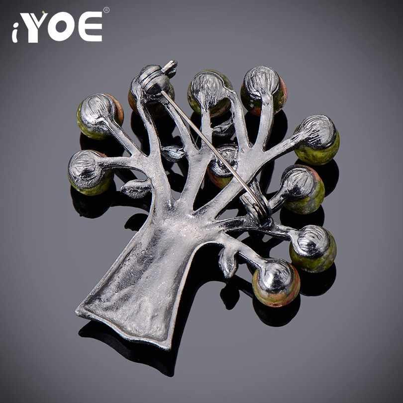 Iyoe Lucu Batu Alam Manik Pohon Bros untuk Wanita Warna Perak Antik Vintage Kerah Bros Perhiasan Merek Korsase