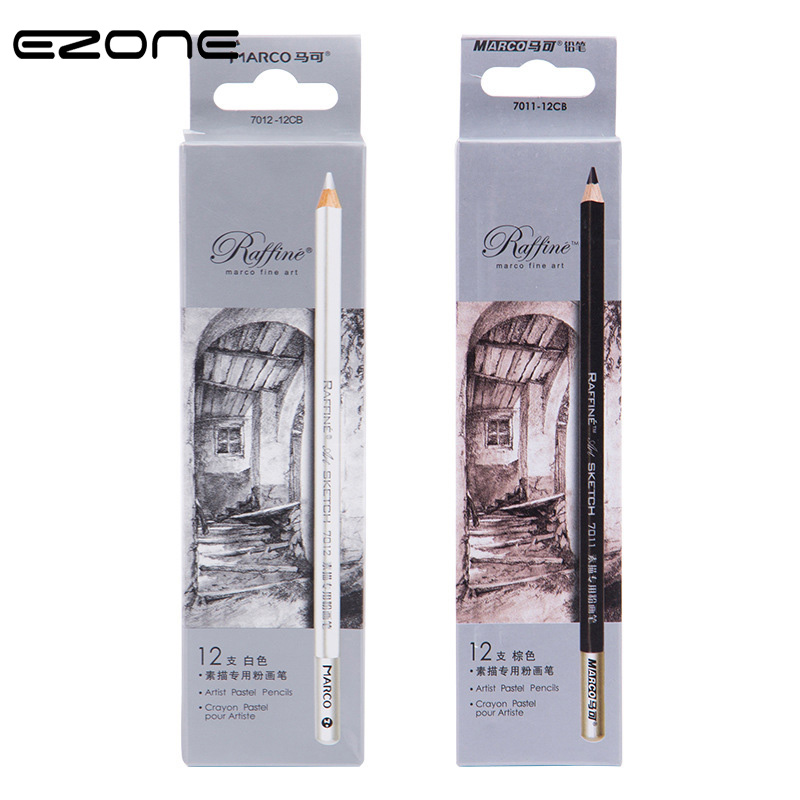 EZONE 1PC Brown/White Sketch Pencil Soft Safe Non-toxic Pencil Painting Professional Drawing Sketching Office School Supply