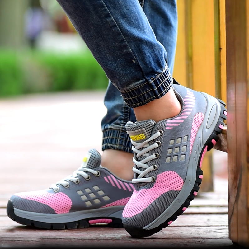 women fashion breathable steel toe caps work safety shoes summer mesh anti-pierce tooling security boots protective footwear evans v welcome aboard 3 picture flashcards beginner раздаточный материал
