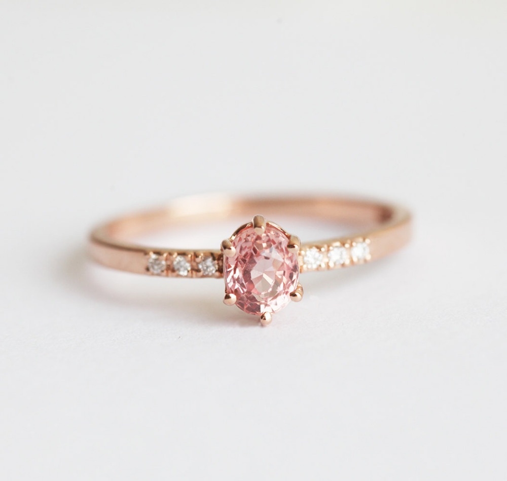 earth wedding ring pink jewelry with rare style products sapphire scalloped band vintage or rings diamond halo engagement