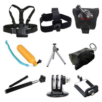 For Gopro Accessories Set Monopod Chest Head Strap Floating Bobber For Yi Action Camera SJCAM SJ4000 SJ5000X Elite EKEN H9 Cam