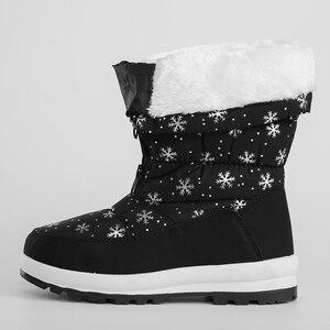 Image 2 - JCHQD 2019 الشتاء النساء الأحذية منتصف العجل أسفل الأحذية أفخم نعل بوتاس الإناث مقاوم للماء السيدات الثلوج أحذية الفتيات أحذية امرأة