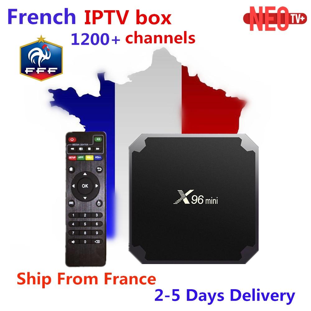 Французский IPTV X96 Мини Android 7,1 Smart tv BOX 2 г 16 г 1 г 8 г + 1200 + NEO ТВ арабский Beigium Марокко платный ТВ и VOD smart Set top tv Box