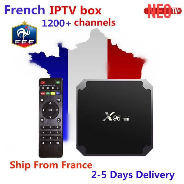Français IPTV X96 mini Android 7.1 Smart TV BOX 2G 16G 1G 8G + 1200 + NEOTV arabe Beigium maroc PayTV & VOD smart Set décodeur TV