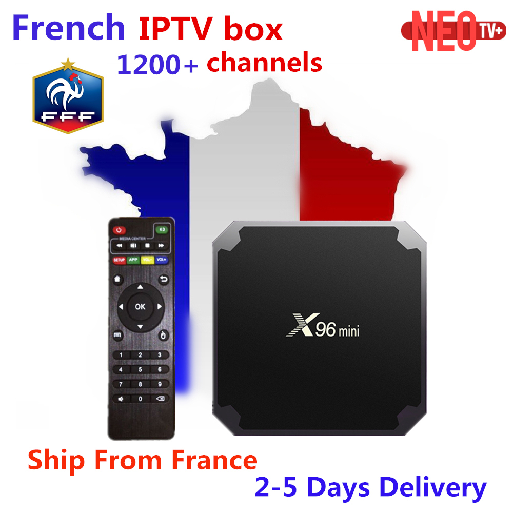 Francés IPTV X96 mini Android 7,1 Smart TV Caja 2G 16G 1G 8g 1200 NEOTV árabe Beigium Marruecos PayTV y VOD smart tv Box Set top