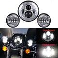 "Daytime Driving Daymaker 7"" Round H4 Hi/Lo Beam LED Motorcycle Headlamp 4-1/2"" Passing 4.5"" Fog Light For Harley Davidson"