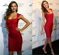 Free Shipping Sexy Cocktail Party Dress Red Celibrity Bandage Low Cut Dress Evening Party Dress