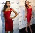Alta qualidade mulheres Sexy Miranda Kerr Red Rayon vestido 2015 Designer Bodycon HL vestido bandagem