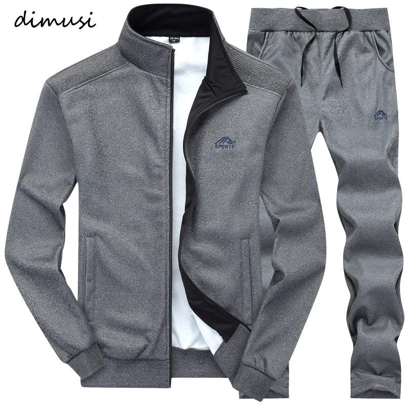 DIMUSI Autumn Spring Sporting Suit Sweatshirt Sweatpants Mens Clothing 2 Pieces Sets