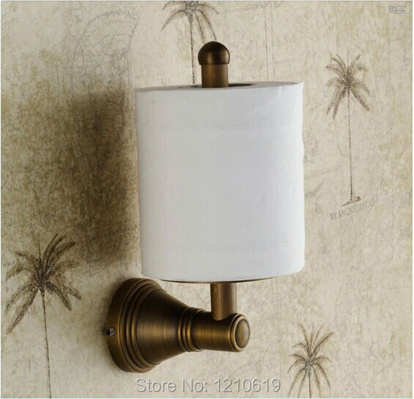 ФОТО Newly US Free Shipping Wholesale And Retail Wall-mounted Vintage Antique Brass Toilet Paper Holder Roll Upright Tissue Shelf