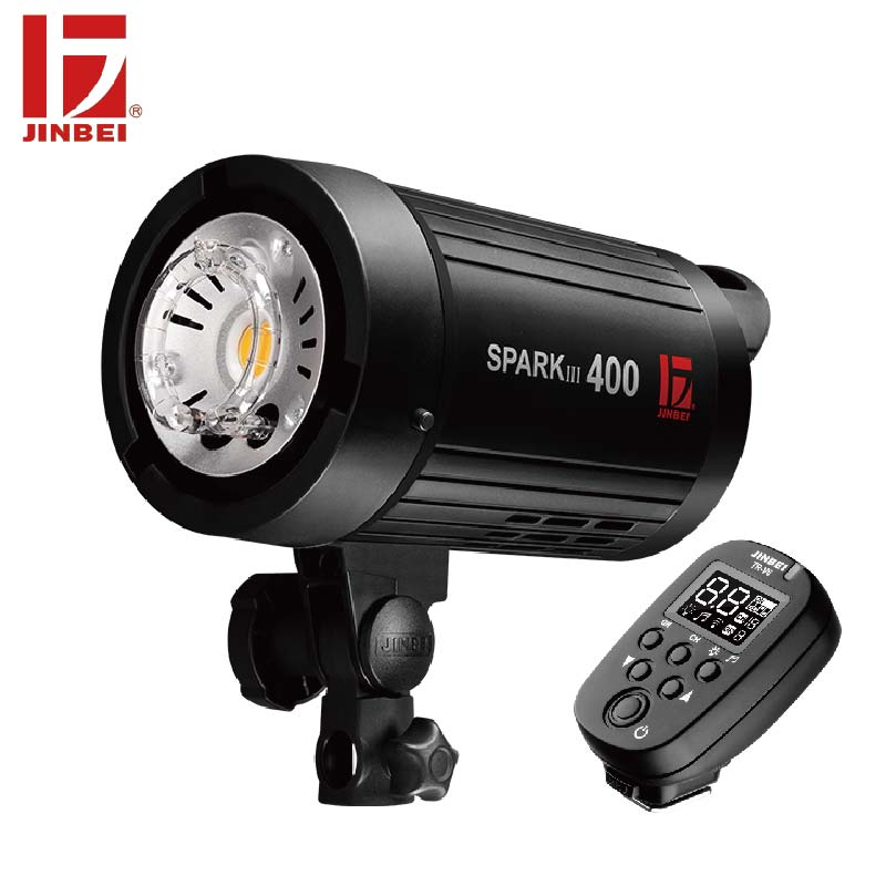 JINBEI SparkIII 400 400W Portable Strobe Flash GN66 with Built in Wireless Receiver LED Modeling Lamp Studio Wedding Commercial-in Flashes from Consumer Electronics