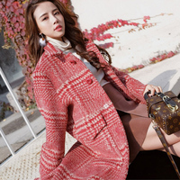 2018 Autumn Winter Red Houndstooth Windbreaker Cashmere Coat New Women Loose Long Thick Overcoat Ladies Basic Coats Casaco