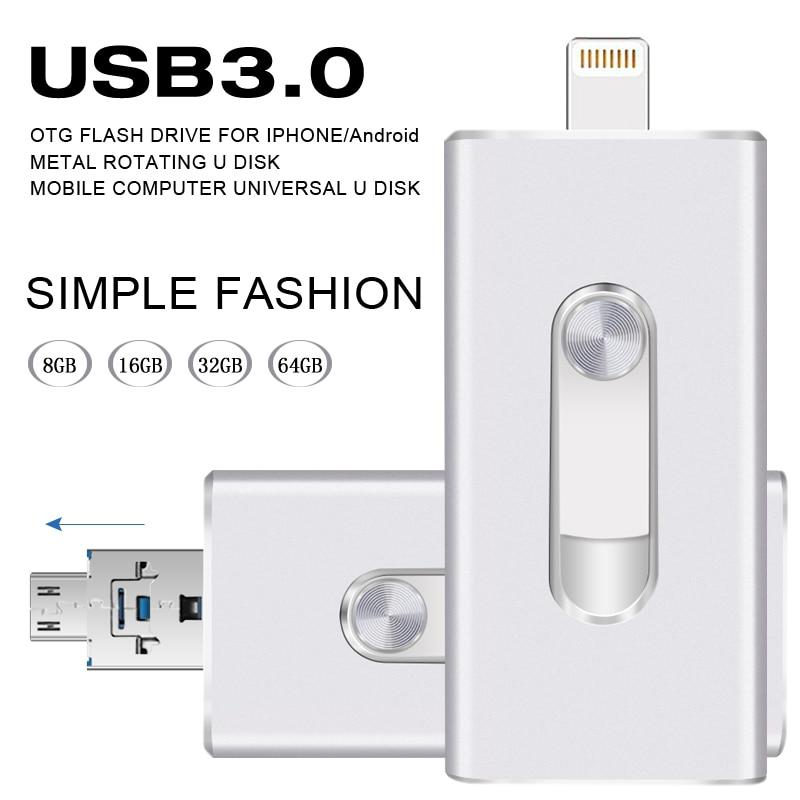 Metal Unidade Flash USB OTG para iphone 5/5s/6/6 Plus/7/8/8 P ipad/Smartphone Android Alta velocidade USB3.0 OTG Flash Drive GB 64 32 GB