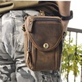 "New Top Quality Genuine Real Leather Cowhide men vintage Brown Small Messenger Belt Bag Waist Pack 5"" Phone Case  269"