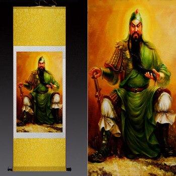 Arte de pared para oficina en casa dibujo de dinero y Talismán deidad marcial de la riqueza Guan Gong Guandi arte de seda china