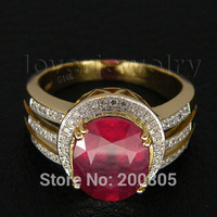 Amazing Jewelry 4 50Ct Solid 14Kt Yellow Gold Diamond Red Ruby Wedding Ring