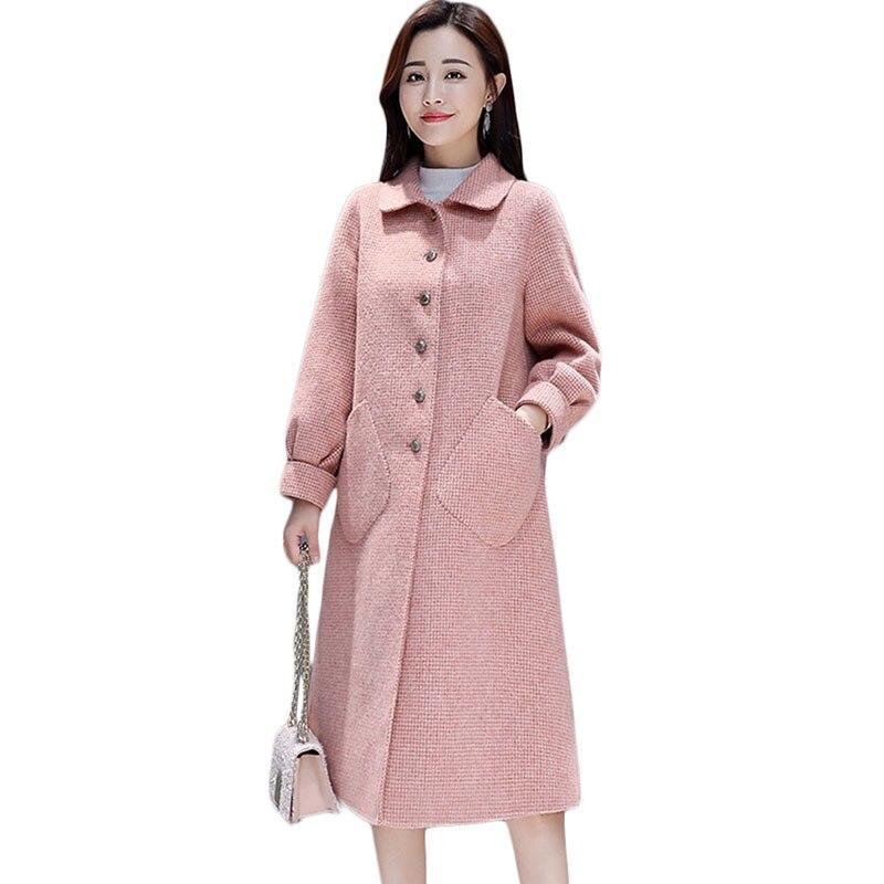 Novas Mulheres casaco de Lã Longo Inverno Coreano Temperamento Single breasted casaco de Lã das Mulheres Moda Malha Rosa Maré Sobretudo 1068 - 3
