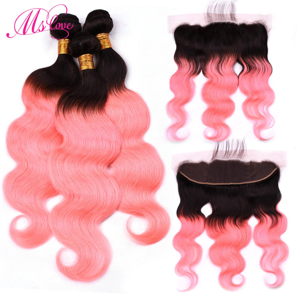 Ms Love T1b Rose Pink Ombre Body Wave Human Hair Bundles With Lace Frontal Closure Brazilian Hair Bundles With Frontal Remy