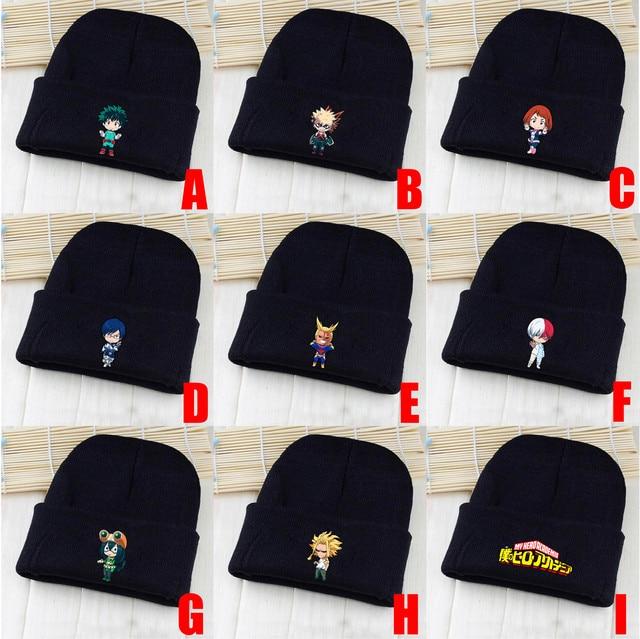 2c51abfc27c My Hero Academia Izuku Midoriya Katsuki Bakugou All Might Shoto Todoroki  Tsuyu Asui Skullies Beanie Knitted Hat Cap Costume Gift