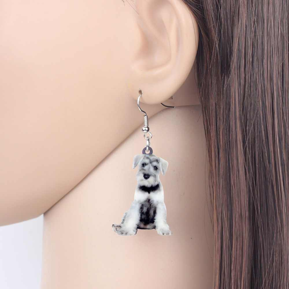 Bonsny de acrílico novedad dibujos animados Schnauzer Terrier perro pendientes gota colgante joyería animal de moda para mujeres niñas Dropshipping