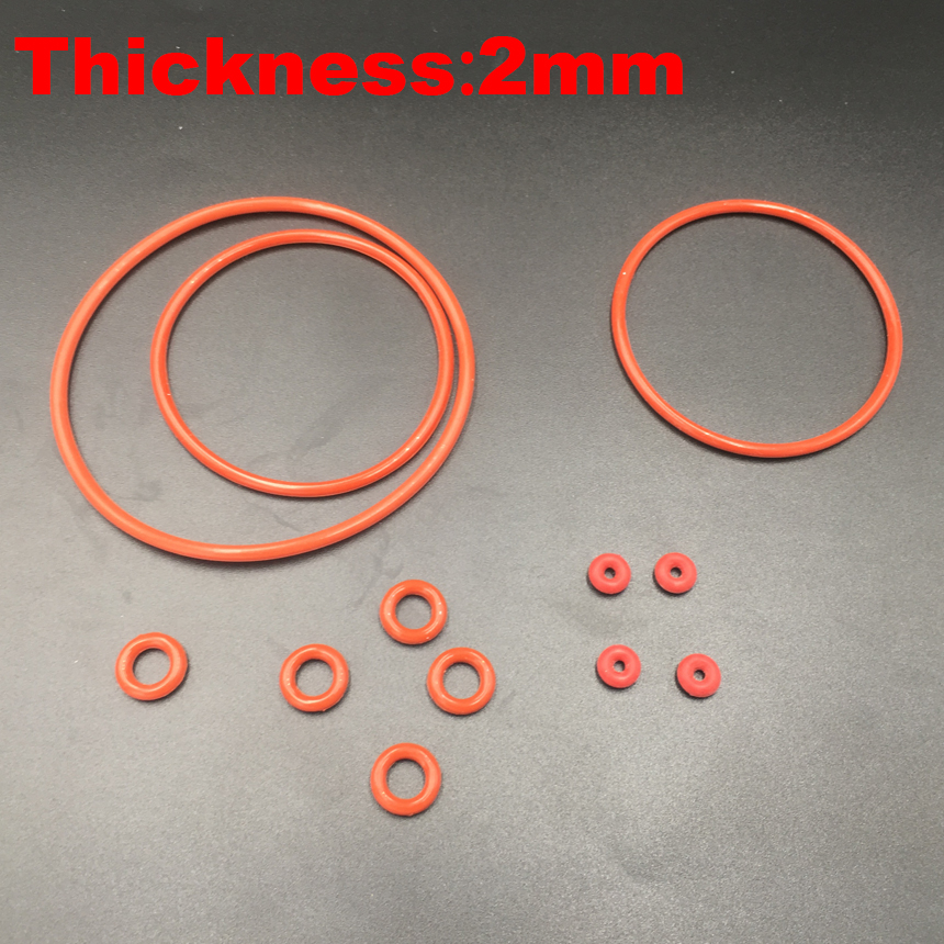 цена на 150pcs 12x2 12*2 13x2 13*2 14x2 14*2 15x2 15*2 (OD*Thickness) 2mm Thickness VMQ Food Grade Red Silicone Oil Seal O Ring Gasket