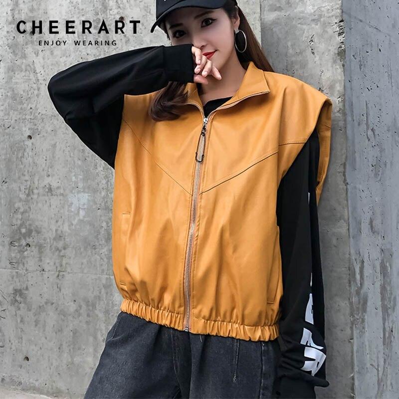 Cheerart Biker Jacket Yellow   Leather   Jacket Women White Sleeveless Motorcycle Jacket Coat   Leather   Vest Oversized Fall 2018