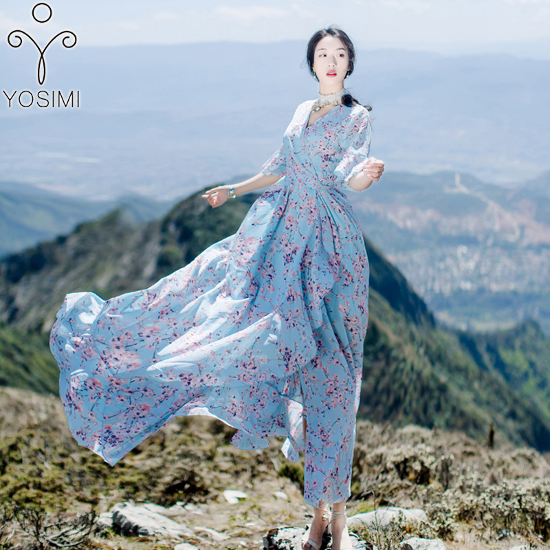 YOSIMI 2018 Summer Dress Floral Print Long Women Dress Maxi Chiffon Belt Bohemian Beach Dress Slit Ankle Length V neck Female