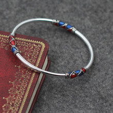 Fyla Mode  Cloisonne Enamel Bangle 100% 925 Sterling Silver Bracelet Bangle For Men Women Thai Silver Jewelry PKY296