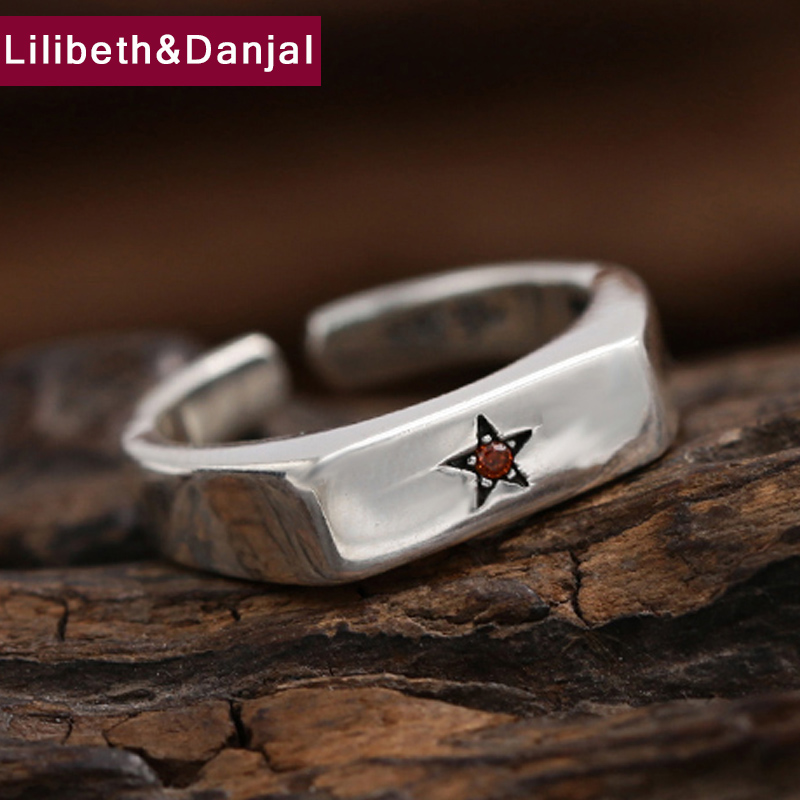 Smooth Opening Five-pointed Star Inlaid Zircon Ring 100% Real 925 Sterling Silver Ring Jewelry For Men Or Women Wedding Ring GR2