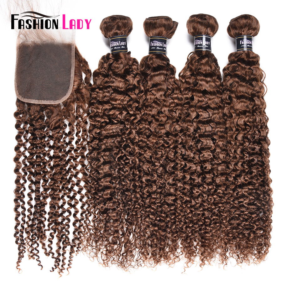 Fashion Lady Pre-Colored Peruvian Hair Curly Human Hair Bundles With Closure 4 Bundles 4# Brown Bundles With Closure Non-Remy