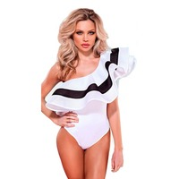 2017 England Style Fashion Sexy One Shoulder Ruffles Elegant Bodycon Bodysuits Sheath Striped Women Beachwear Blusa