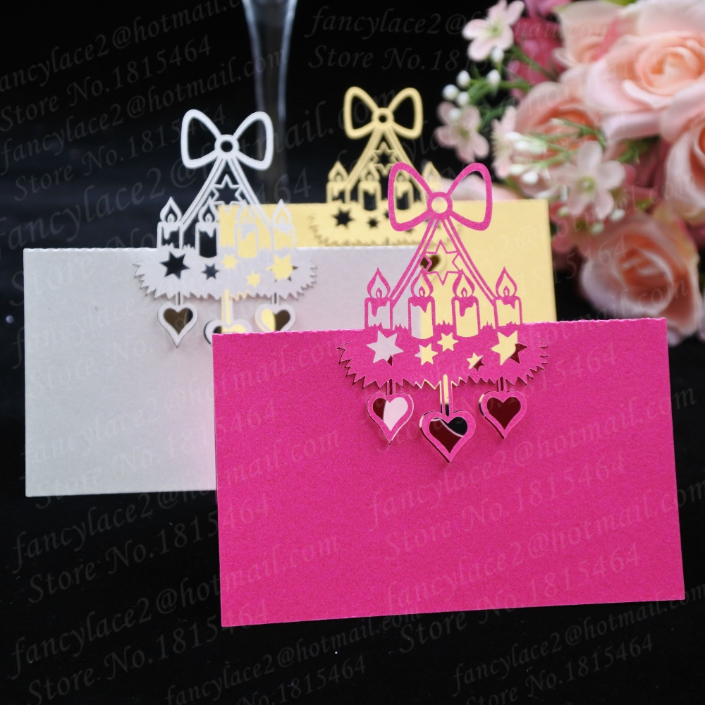 50pcs Place Name Cards Paper Wine Glass Cup Table Invitation Card ...