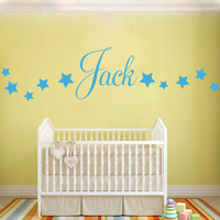 D201 Baby Boys Wall Sticker - Personalised Stars Child Name Bedroom Nursery vinyl stickers Star Decal for Kids Room Home Decor