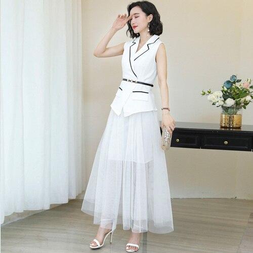 Sans manches blanc deux pièces ensemble costume femmes 2019 coréen bureau dame élégant col rabattu maille élégant Blazer ensemble longues jupes