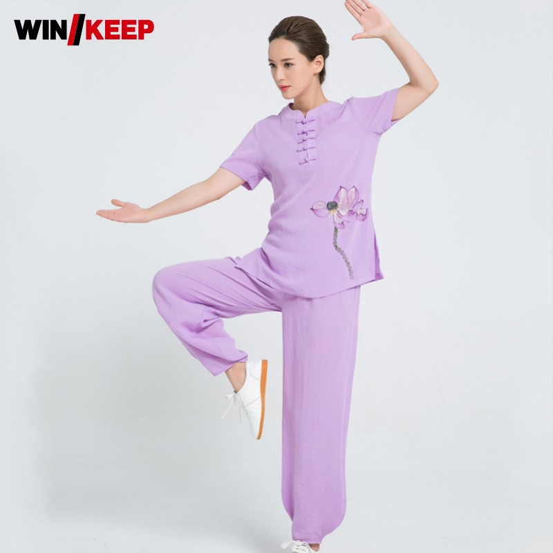 High Quality Linen Women Wushu Set Vintage Floral Printed Tai Chi Clothing Short Sleeve Shirts Wing Chun Uniform Tracksuit Sets