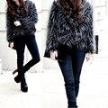 2016 Mulheres Jaqueta de Inverno Preto Natureza Casaco De Pele Senhoras Outerwear Peludo Grosso Mangas Compridas senhoras casaco De Pele