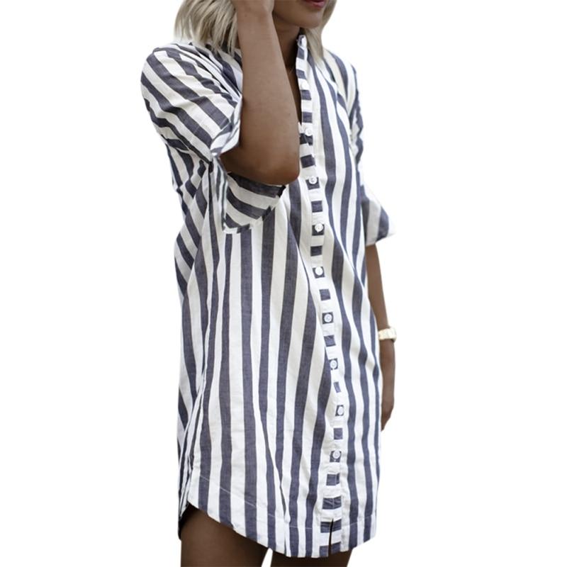 EFINNY Women Sundress Vestidos Striped Button Sexy Summer Dress Elegant Daily Dess Female