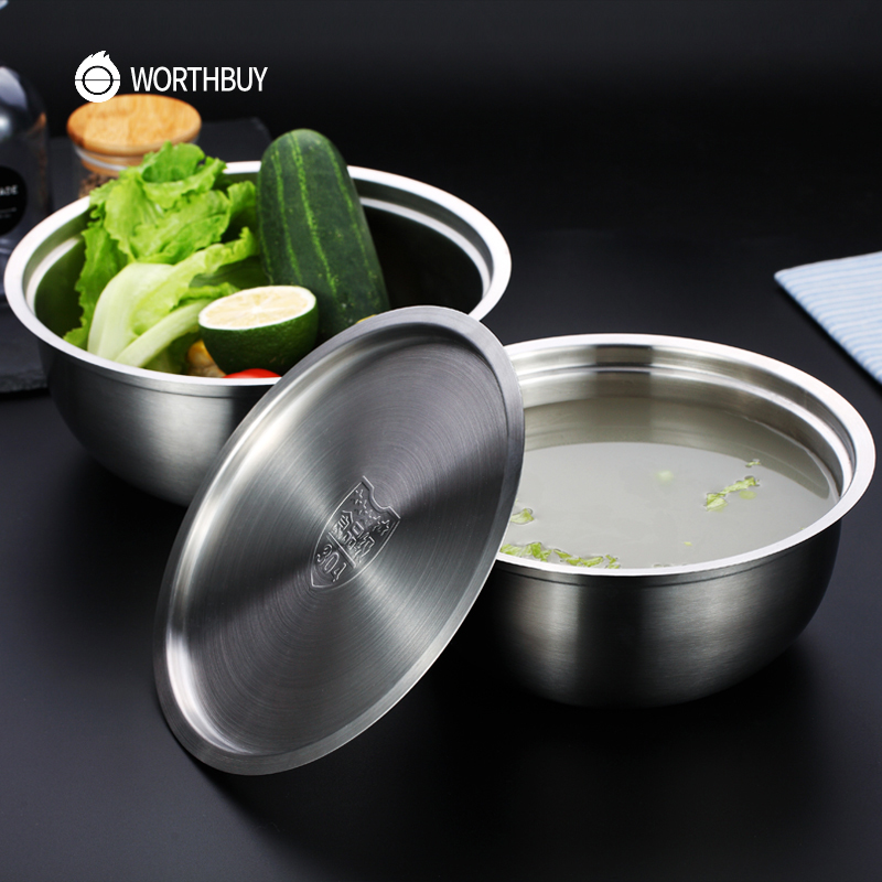 WORTHBUY 1 Pcs Chinese 304 Stainless Steel Bowl Fruit Vegetable Food Bowl With Lid For Baking Mixing Bowl Kitchen Accessories