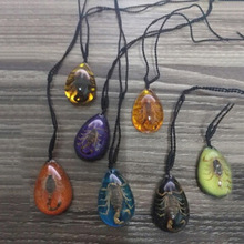 Ожерелье с насекомыми прозрачное имитация Скорпиона ожерелье с веревочкой Регулируемый мульти-доступен выбор цветов